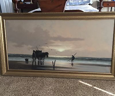 Large Vintage Oil Painting On Canvas By Martens In Gold Frame