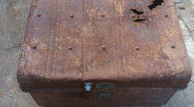 Vintage Large Tin Trunk / Chest - Man Cave Furniture - Estate Item.