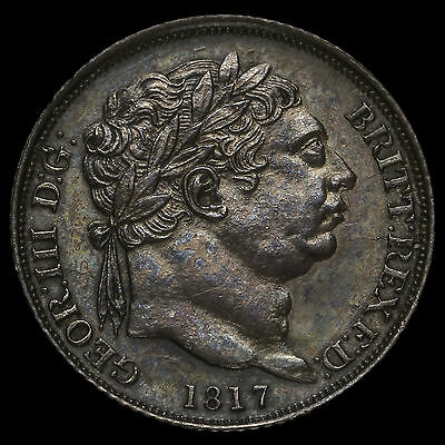 1817 George III Milled Silver Sixpence, Choice Uncirculated