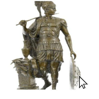 Bronze Sculpture Odysseus Greek Soldier Spartan With Spear And Shield By Huzel F