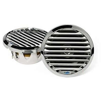 Aquatic AV AQ-SPK6.5-4LC 6.5 Chrome Marine Waterproof Speakers LED Boat/UTV Pair