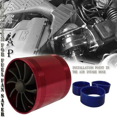 """3"""" Inch Cold/Air Intake Short Tornado Supercharger Gas Fuel Saver Dual Fan Red"""