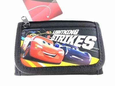 Brand New Disney Pixar Cars Wallet Lightning Strikes Tri Fold Kids NWT- Black