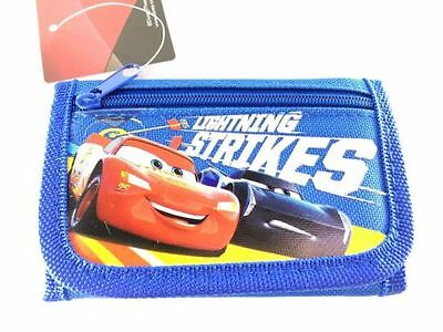 Brand New Disney Pixar Cars Wallet Lightning Strikes Tri Fold Kids NWT- BLUE