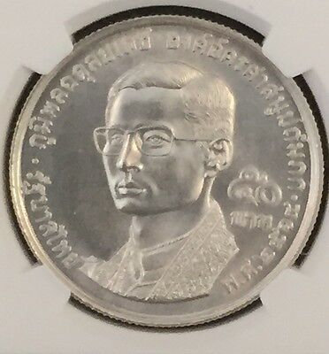 Be2514//1971 Thailand Silver 50 Baht Buddhist Fellowship Ngc Ms67 Pop.27