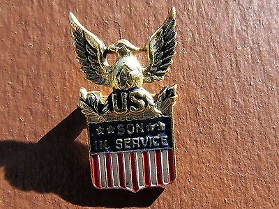 STERLING SILVER WW2 US HOMEFRONT SON IN SERVICE PIN marked CORO STERLING WWII