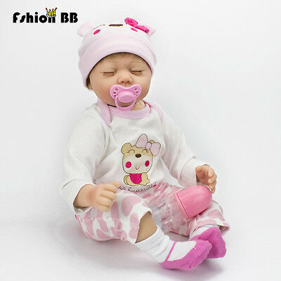 22inches Lifelike Handmade Reborn Baby Doll Silicone Newborn Vinyl Sleeping Doll