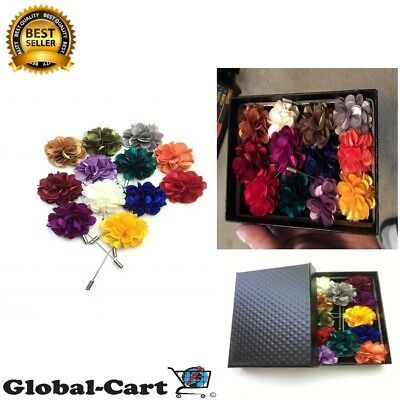 Unibuy Mens Lapel Pin Set with Handmade Flower Boutonniere For Suit Gift Box 12