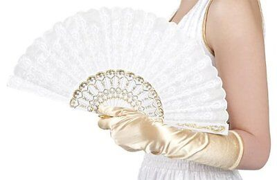 Accessory White Lace Fan for Fancy Dress