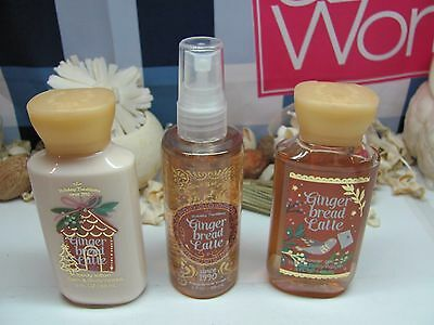 Bath and Body Works 3 Pce. Set  Gingerbread Latte  Mist, Lotion, Shower Gel 3 oz