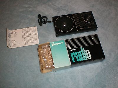 Kingston AM FM Transistor Radio With Strap Works Box Papers