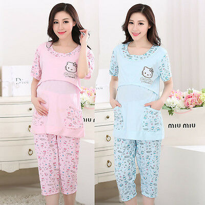 Summer Cotton Maternity Pajamas Suit Nursing Women Sleepwear Plus Size L 4XL