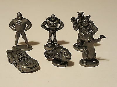 Disney Pixar Monopoly Pewter Character Figures - Full set of 6 Pieces