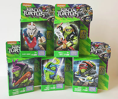 Teenage Mutant Ninja Turtles Out of the Shadows Mega Bloks Figures Set of 5 TMNT