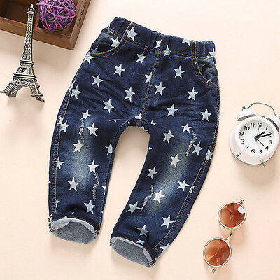 1PC Toddler Baby Boy Clothes Casual Jeans Trousers Print Star Cotton Denim Pants