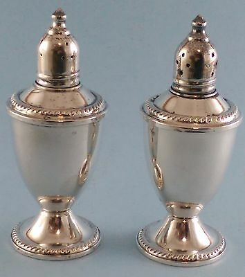Pair DUCHIN Creation Weighted Sterling Silver Salt Pepper Shakers Glass