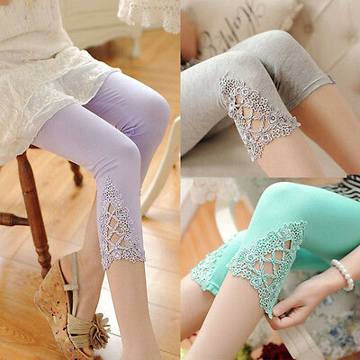 Maternity Leggings Women Lace Thin Solid Stretchy 3/4 Length Cropped Summer Pant