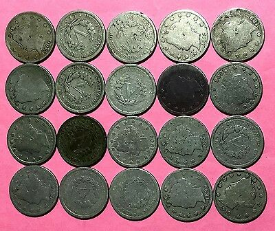 """1800s-1900s US LIBERTY """"V"""" Nickel Set of 20 Assorted Coins!"""