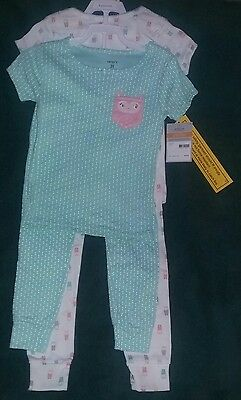 NEW Carter's 3T Toddler Girl 2-Pair Pack Of Two-Piece Pajama Sets--Owls