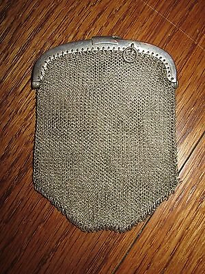 Antique Chatelaine Silver Chain Mail Mesh Coin Purse Three Sections