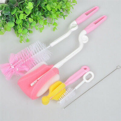 Baby Milk Feeding Bottle Brush Pacifier Nipple Sponge Cleaner Straw Brushes 5pcs