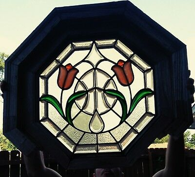 Antique Art Nouveau English Floral  Stained Glass Front Hall Window 1950s Era