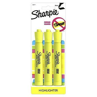 Sharpie Accent Tank Highlighters, Chisel Tip, Fluorescent Yellow, 3-Count