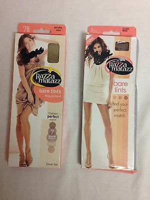 2 x Vintage RazzaMatazz Bare tints pantyhose in Natural and Gloss size Mids