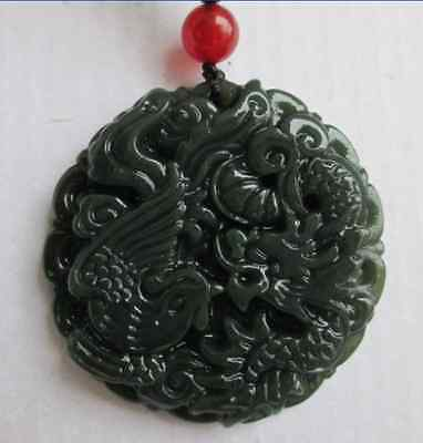 natural hand-carved Chinese hetian jade pendant - dragon Phoenix Natural