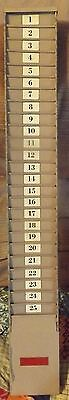 Vintage Industrial Heavy Metal Time Card Holder Rack Storage by LATHAM holds 25