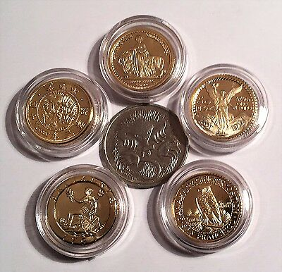 Awesome Set of 5 x 1 Gram Mini Coins 999 Fine 24K Gold Plated in Capsules (A)