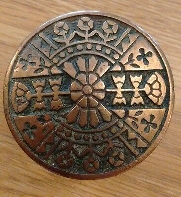 Antique Victorian Eastlake Brass Bronze Drum Door Knob - Ornate Design - Flower
