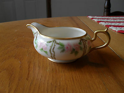 Belleek Willets Handpainted Creamer with Pink Roses and Gold Edging