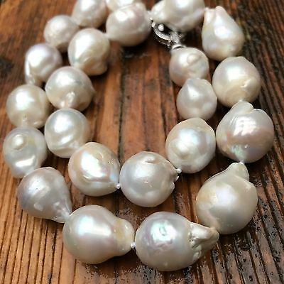 Real Baroque Pearl Necklace 12-15mm large baroque Pearl Necklace 18""