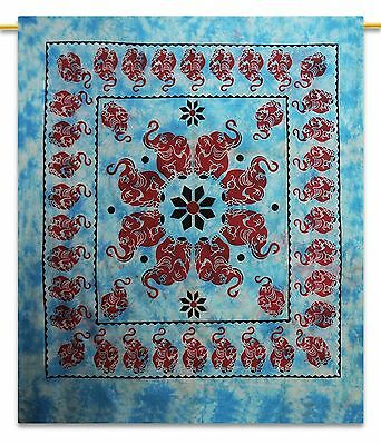 Blue Vintage Elephant Printed Tapestry Cotton Room Decor Wall Hanging 92 X 82
