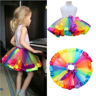 Lovely Kids Colorful Toddler Children Skirt Baby Girls Rainbow Tulle Tutu Dress