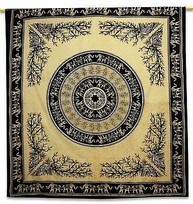 Elephant Vintage Tapestry Beige Pure Cotton Blanket Room Wall Hanging 92 X 82