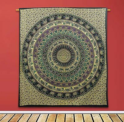 Indian Vintage Mandala Tapestry Beige Home Decor Cotton Wall Hanging 92X82