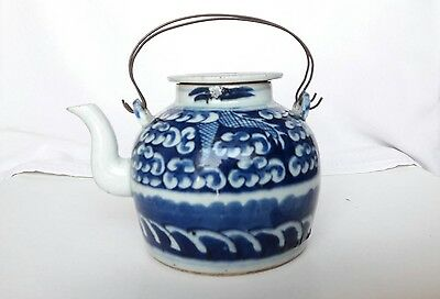 Rare Small 19 Th C Antique Chinese Blue And White Porcelain Teapot Pot