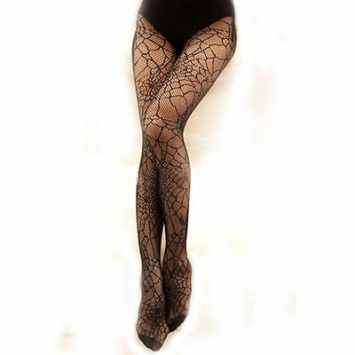 Spider Web Tights Halloween Witch Fancy Dress Costume Accessory UK Seller