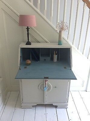 Stunning Vintage Hand Painted Oak Bureau Desk Storage Autentico Chalk paint