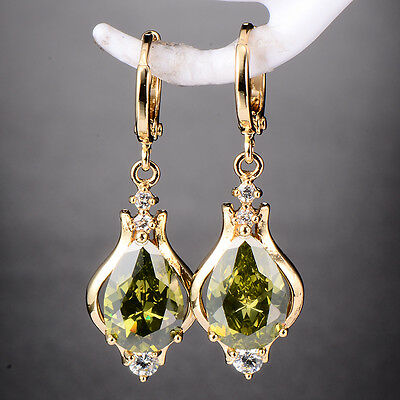Hot Womens Gold Plated Green&Red CZ Rhinestone Drop Earrings Gemstone