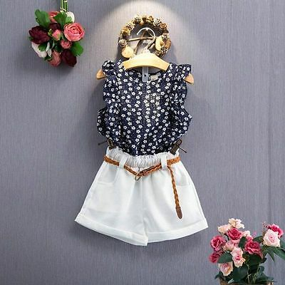 2PCS Toddler Kids Baby Girls Chiffon T-shirt+Short Pants Clothes Outfits Set