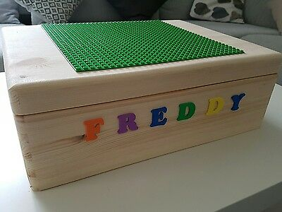 lego storage box with baseplate top lid for kids and children personalised uk