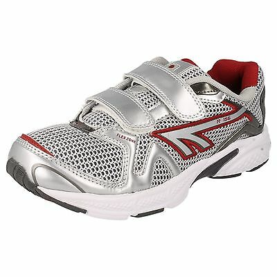 Childs Hi-Tec White/silver/red Trainers Style - R156 Jnr Ez