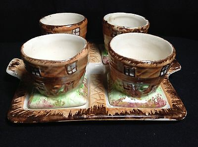 Vintage Price Bros Cottage Ware - Rare Egg Cup Stand With Four Egg Cups