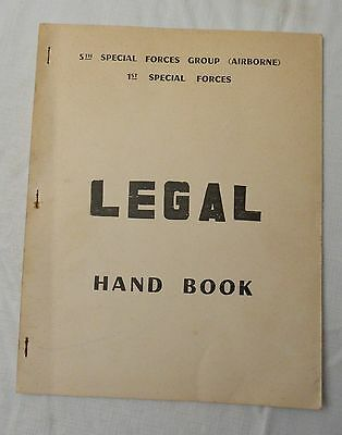 RARE 1966 Vietnam War LEGAL HAND BOOK for 5th Special Forces Group GREEN BERETS