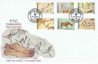 Zimbabwe 1982 Rock Paintings set on first day cover