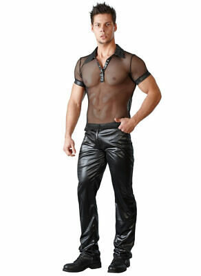 "Wetlook Hose S-XL Glanz schwarz Herren Wetlookdesign Lederimitat jeans ""Deany"""