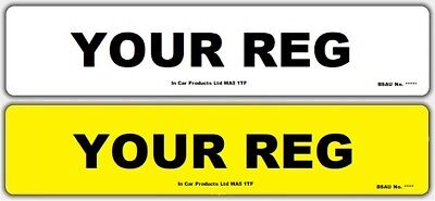 Pair of Standard MOT UK Road Legal Car Reg Registration Number Plates & Fixings